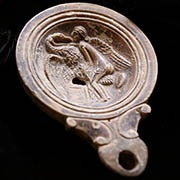 Signed Roman Oil Lamp with a Hunting Scene