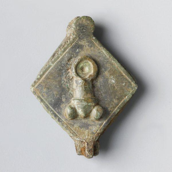 Roman Bronze Seal Box with Phallus