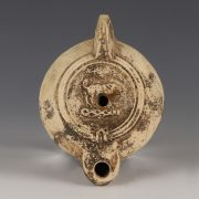 Signed Roman Oil Lamp with the Erymanthian Boar