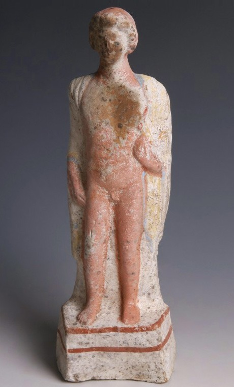 Greek Polychrome Statuette of a Young Man