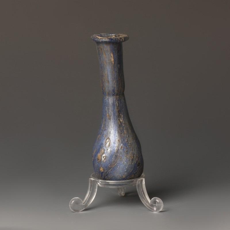 Roman Marbled Blue Glass Unguentarium