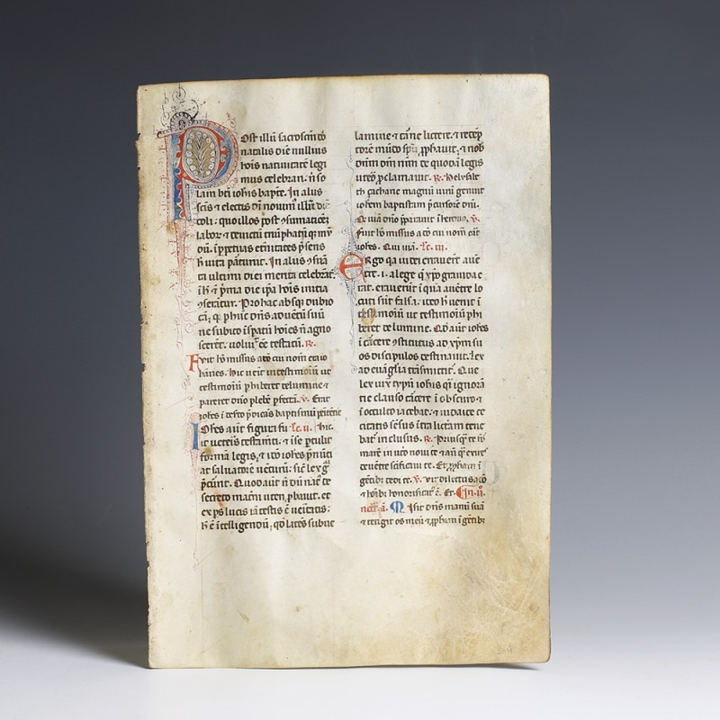 Large Illuminated Medieval Bible Page