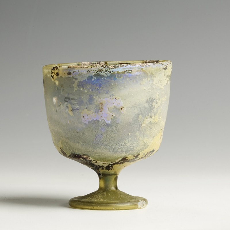Late Roman Glass Stemmed Cup