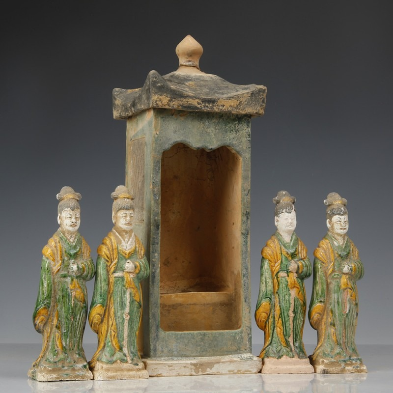 Ming Dynasty Green-glazed Attendants & Palanquin
