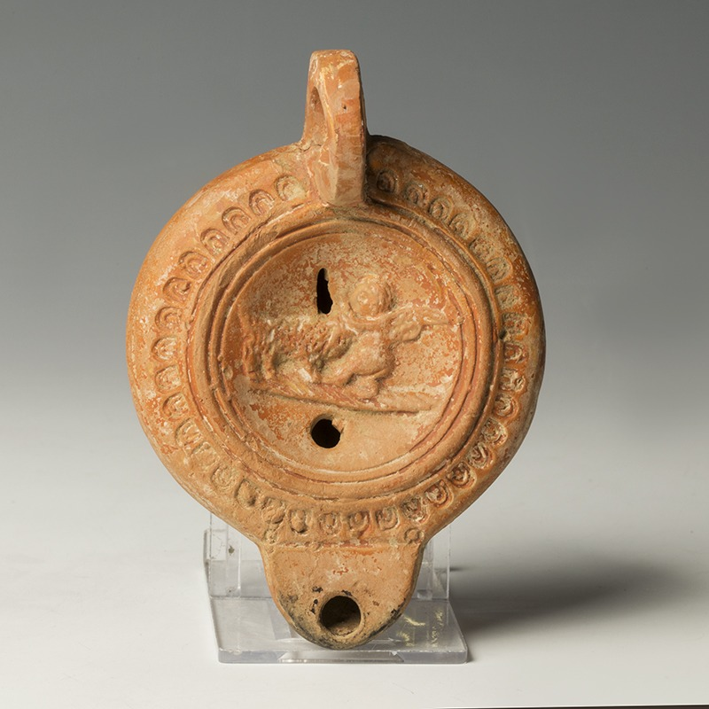 Roman Pottery Lamp with Eros