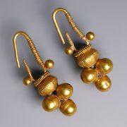 Western Asiatic Gold Cluster Earrings