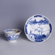 Kangxi Blue & White Saucer & Teacup Set